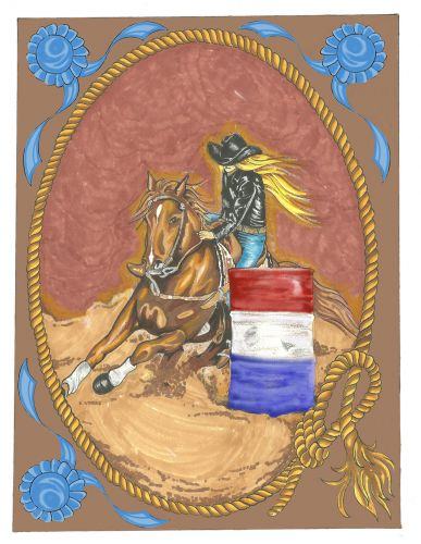 Blue Ribbon Barrel Racer Luxury Couture Plush Large Blanket