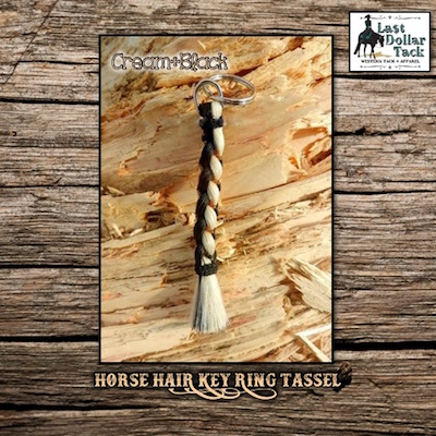 French Braid Horse Hair Key Ring Tassel - Black & Off White