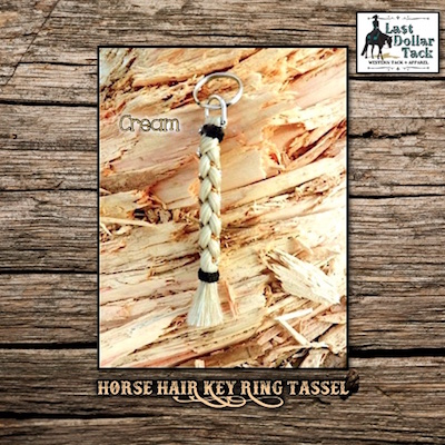 French Braid Horse Hair Key Ring Tassel - Cream