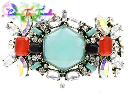 Beautiful Shourouk Styled Lucite & Glass Faceted Designer Cowgirl Gypsy Bracelet