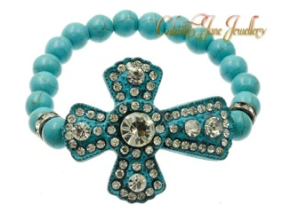 Turquoise Beads & Crystal Paved Bracelet