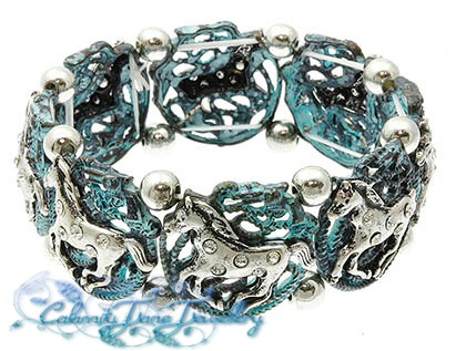 Antiqued Teal Burnished Bracelet Mustangs & Crystal Stones