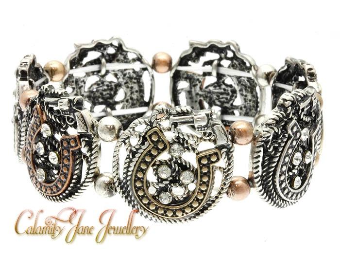 Cowboy Charm Conchos & Crystal Rhinestones Bracelet