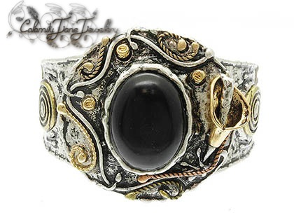 Artisan Burnished Hammered SouthWest Bracelet Natural Jet Black Stone