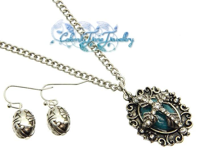 Filigree & Lucite Gemstone & Crystal Cross Pendant Necklace Set