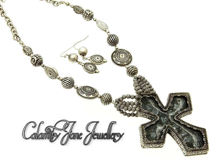 South West Burnished Marcasite Chunky Cross & Bead Design Necklace Set