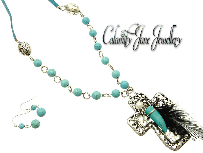 Antiqued Hammered Cross Turquoise Beads & Feather Accent Necklace Set