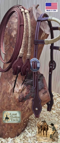 Premium Quality Western Headstall & Rein Set - Dark Chestnut