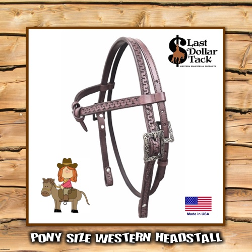 Pony Headstall High Quality Tooled Chocolate Leather with Antique Silver Buckles