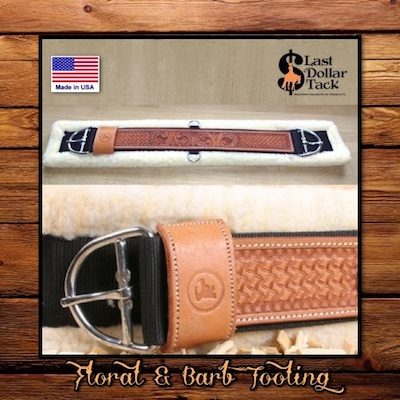 Western Floral & Barb Tooled Leather & Fleece Cinch