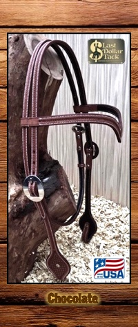 Wicket & Craig Tooled Chocolate Leather 'V' Browband Headstall-Full Size