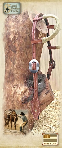 Premium Leather Headstall Double Rawhide Ears Basket Tooling-Russet
