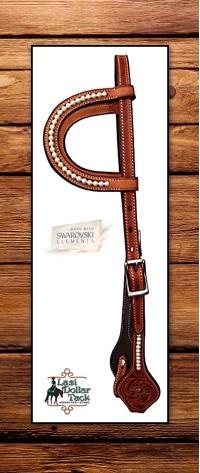 Double Ear Headstall Chestnut Floral Tooled with Swarovski Pearls