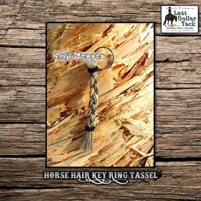 French Braid Horse Hair Key Ring - Salt & Pepper