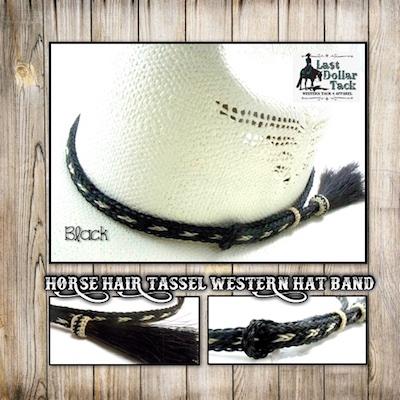 Horse Hair Braided Western Hat Band - Black & White