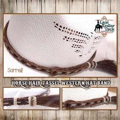 Horse Hair Braided Western Hat Band - Sorrel