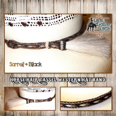 Horse Hair Braided Western Hat Band - Sorrel & Black Mix