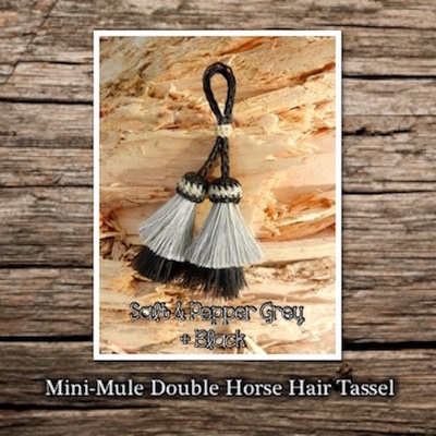 Horse Hair Tassel Double Mini-Mule Style - Salt & Pepper with Black