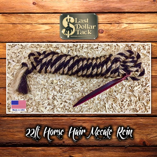 Horsehair Mecate 22ft Vaquero Black Mix