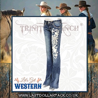 Trinity Ranch Collection Crystals & Leaf Embroidery Designer Jeans - Size 14