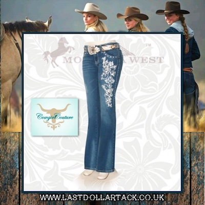 Trinity Ranch Collection Fleur Di Lis Embellished Designer Jeans- Size 14