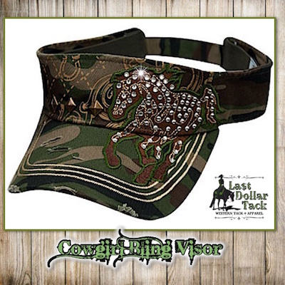Cowgirl Camo Bling Visor with Crystal Mustang Embellishments