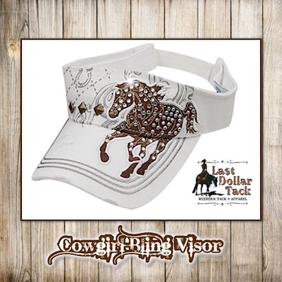 Cowgirl Bling Visor With Mustang Crystal Embellishments