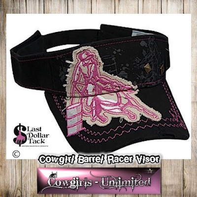 Cowgirl Couture Visor Barrel Racer Embroidered AppliqueBlack