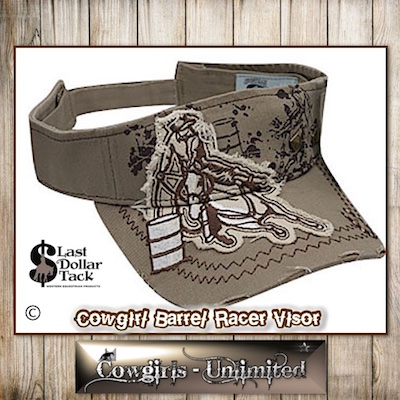 Cowgirl Couture Visor Barrel Racer Embroidered AppliqueKhaki