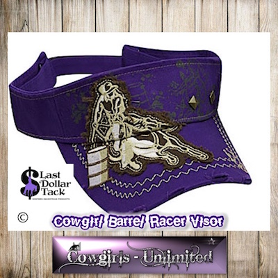 Cowgirl Couture Visor Barrel Racer Embroidered Applique-Purple