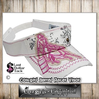 Cowgirl Couture Visor Barrel Racer Embroidered Applique White