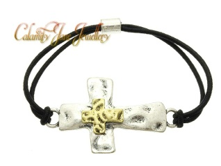 South West Design 2-Tone Hammered Burnished Cross Bracelet