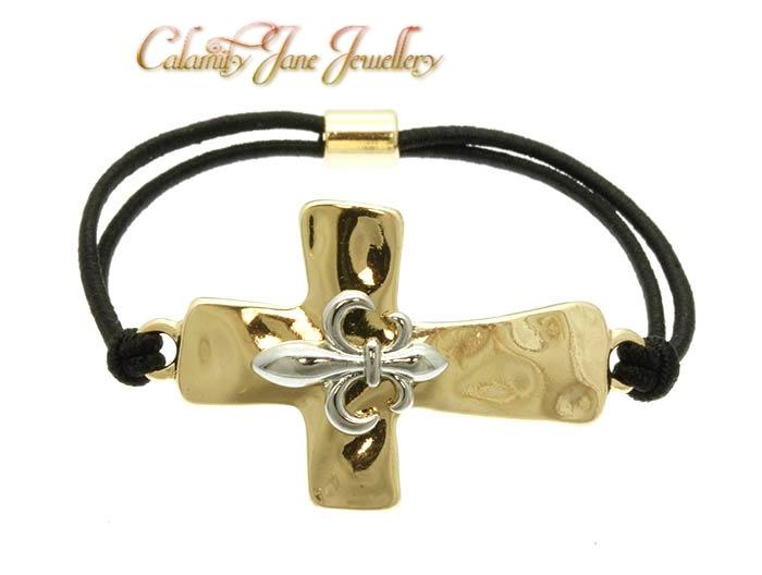 Hammered 2-Tone 'Fleur De Lys' South West Design Cross Bracelet