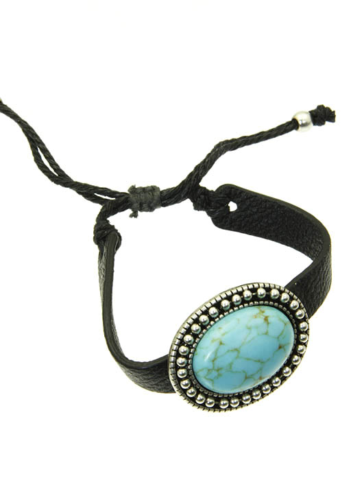 Natural Turquoise Stone Concho & Leather Southwest Style Bracelet