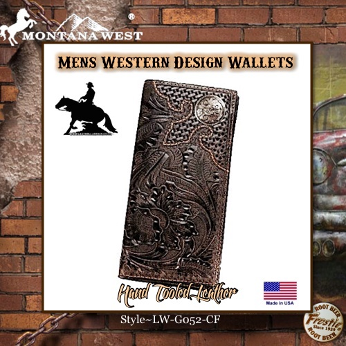 Montana West Men's Hand Tooled Dark Brown Leather Wallet