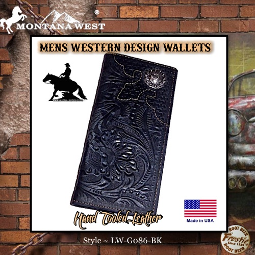 Men's Hand Tooled Black Leather Wallet Floral Concho