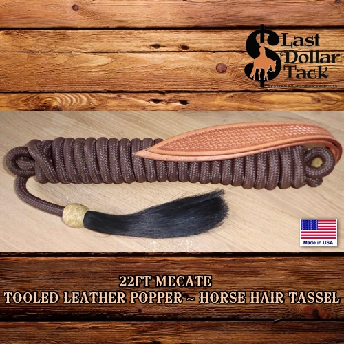 22ft Premium Brown Braid Nylon Basket Tooled Popper & Horse Hair Tassel