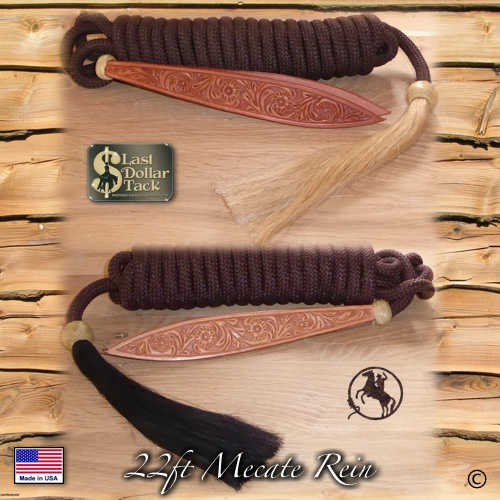 Premium Mecate Rein 22ft Chocolate Braid Nylon with Horse Hair Tassel