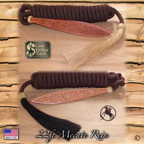 Premium Mecate Rein 22ft Chocolate Braid Nylon with Horse Hair Tassel