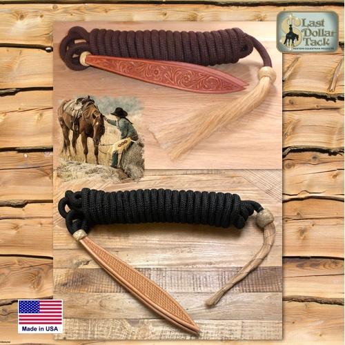 22ft Premium Braid Nylon Mecate Tooled Popper & Horse Hair Tassel