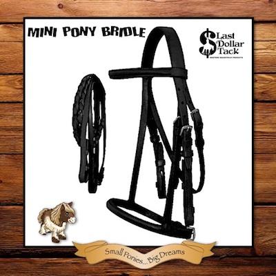 Mini Shetland Pony English Black Leather Bridle & Braid Reins