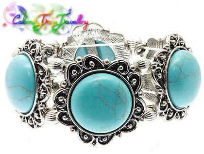 Cowgirl Gypsy Turquoise Concho Vintage Design Bracelet