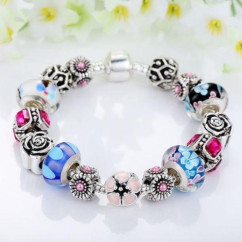 Pink & Blue Multi Flower & Silver Platinum Bead Charm Bracelet