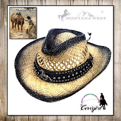Montana West Raffia Western Hat-Mustang Concho & Bling