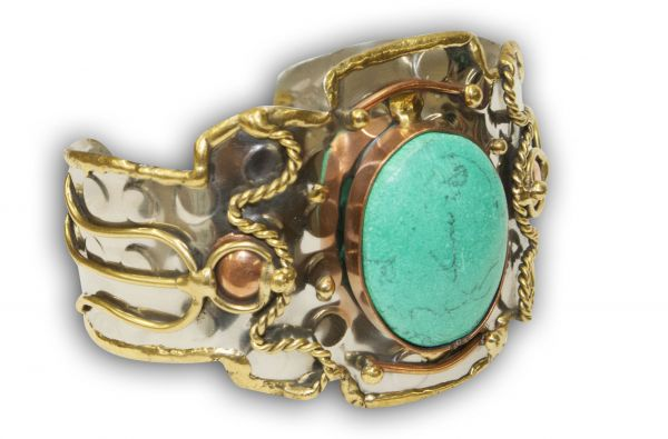 Southwest Tri-Tone Wide Cuff Bracelet with Large Turquoise Stone