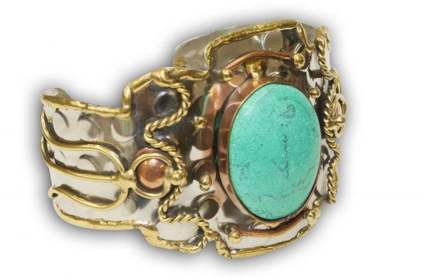 Southwest Tri-Tone Wide Cuff Bracelet with Large Turquoise Stone