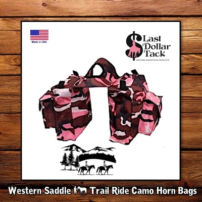 Trail Ride Western Saddle Horn BagsPink Camo