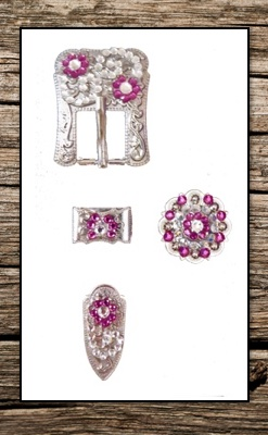 Hand Engraved Silver & Pink Crystal Complete Buckle Replacement Set