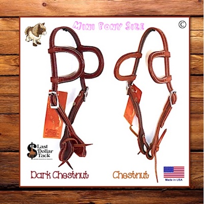 Small Mini Pony Wicket & Craig Tooled Leather 2 Ear Headstall with Water-Ties
