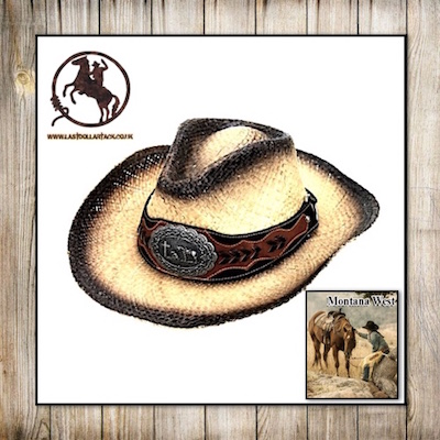 Montana West Raffia Western Hat-Praying Cowboy Concho